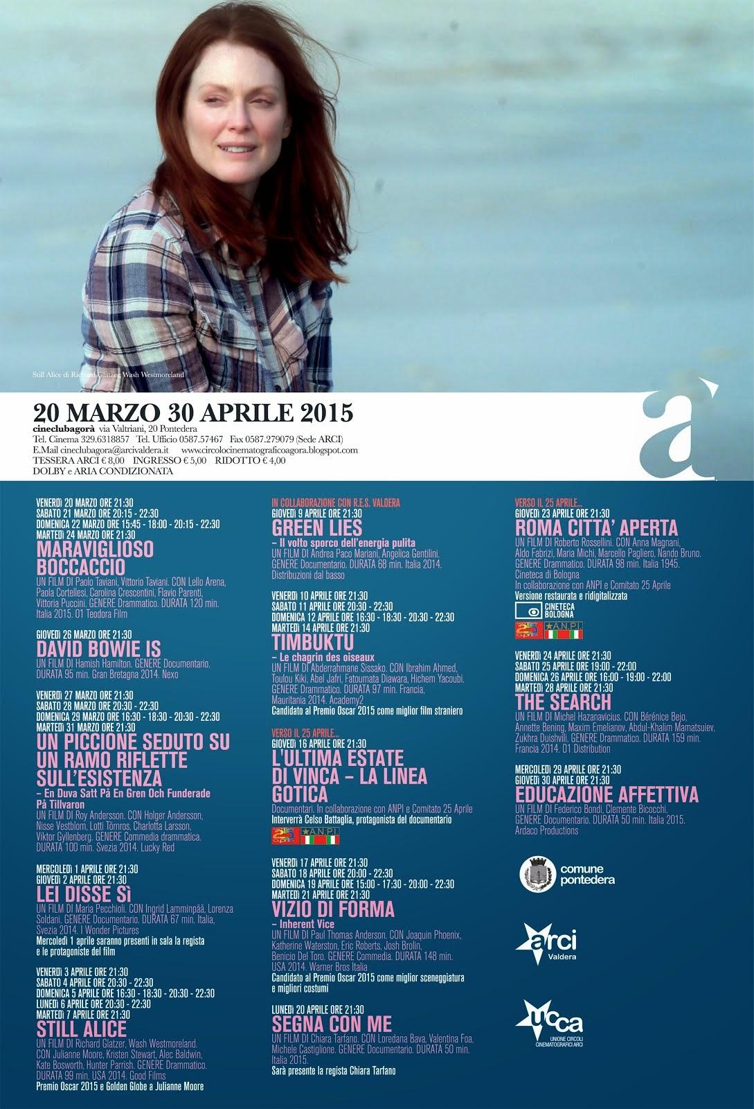 Programma dal 20 marzo al 30 aprile