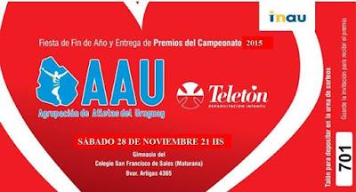 Fiesta de fin de año de la Agrupación de Atletas del Uruguay en Colegio Maturana (28/nov/2015)