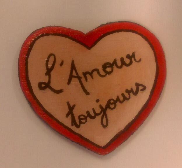 Crgc DIY l'amour toujours broche corazón madera love wooden brooch