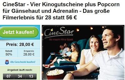 Groupon: 4 mal Kino (Cinestar) inklusive Popcorn für 28 Euro statt 56 Euro