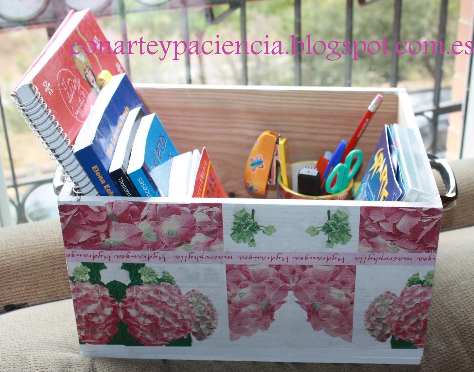 Ante todo con arte y paciencia caja decoupage de flores - Cajas de fruta decoradas ...