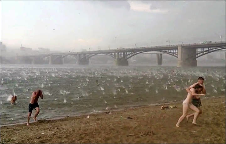 Freak Hail Storm Hits Siberian Beach in Mid-Summer