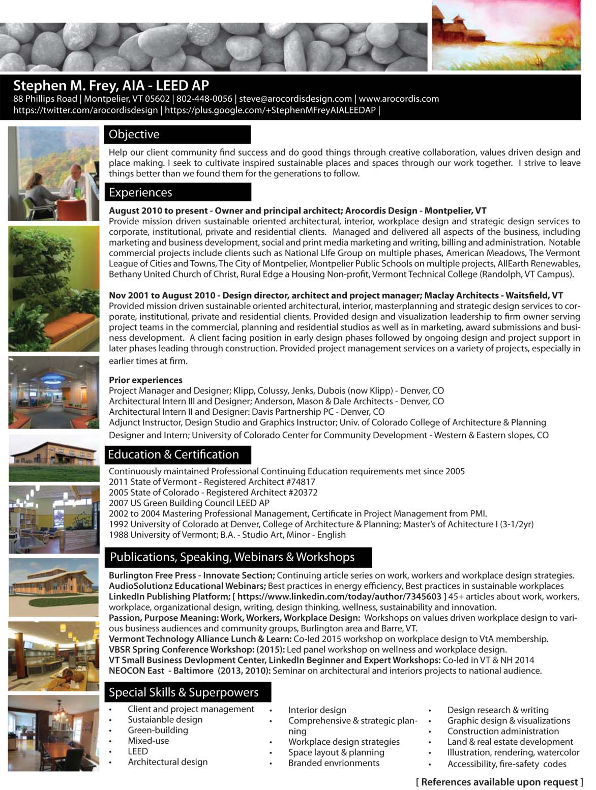 resume for stephen m frey aia leed ap for more info contact us at info arocordisdesign com or call us at 802 448 0056 or use the contact us form on sidebar to return to our home page