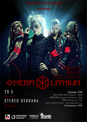 Flayer Omega Lithium Release concert for the new album