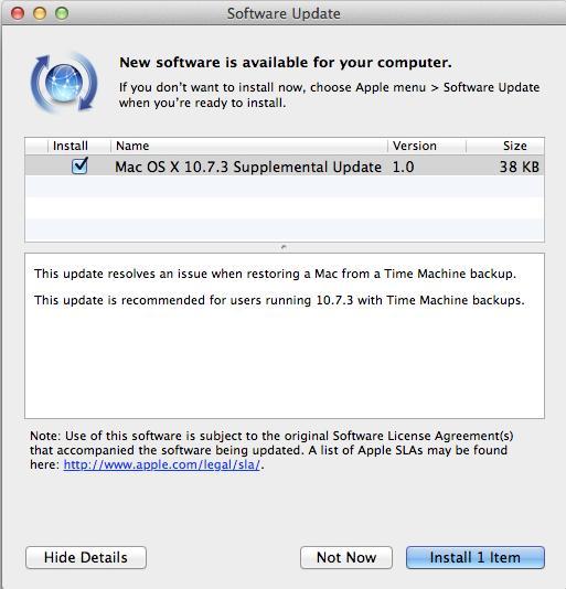 Apple OSX 10.7.3  Lion update screenshot