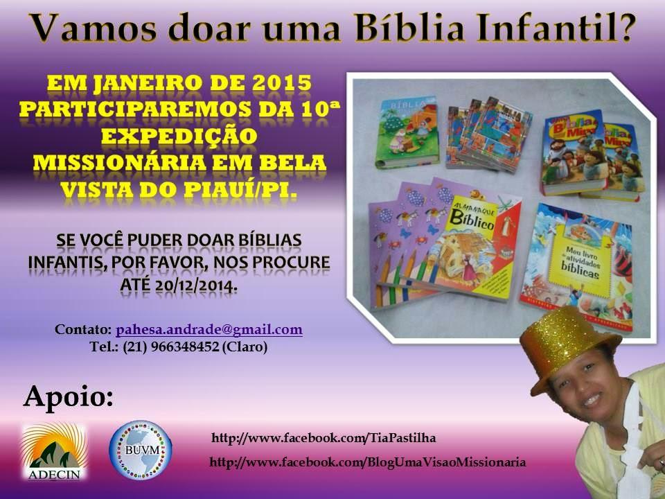 Faça a doação de uma Bíblia à crianças de Bela Vista do Piauí/PI.