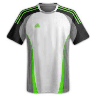 Desain kaos sepakbola warna putih kombinasi hijau - exnim.com