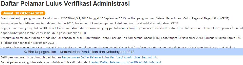 Hasil Administrasi CPNS Kemendikbud 18 Oktober 2013
