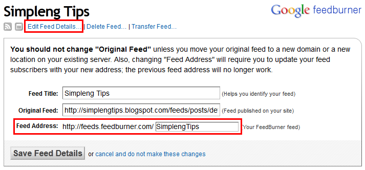 blogger feedburner example