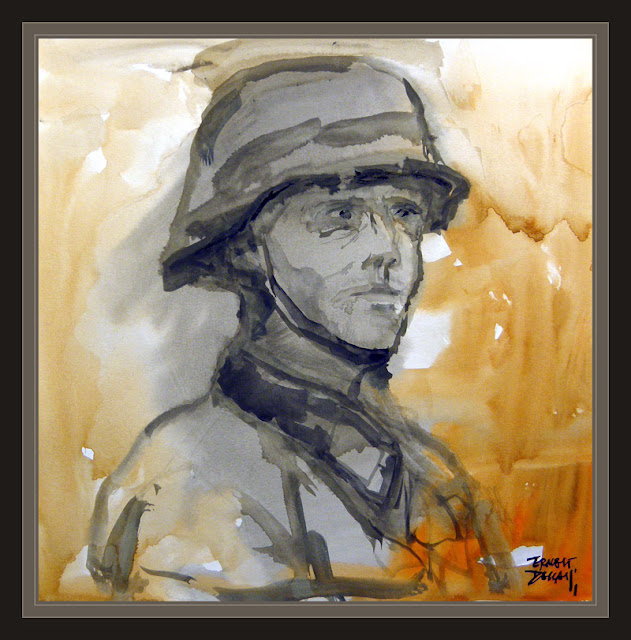 GERMAN SOLDIERS-ART-WW2-PORTRAIT-PAINTINGS-ARTWORK-HELMET-PAINTER-ERNEST DESCALS--
