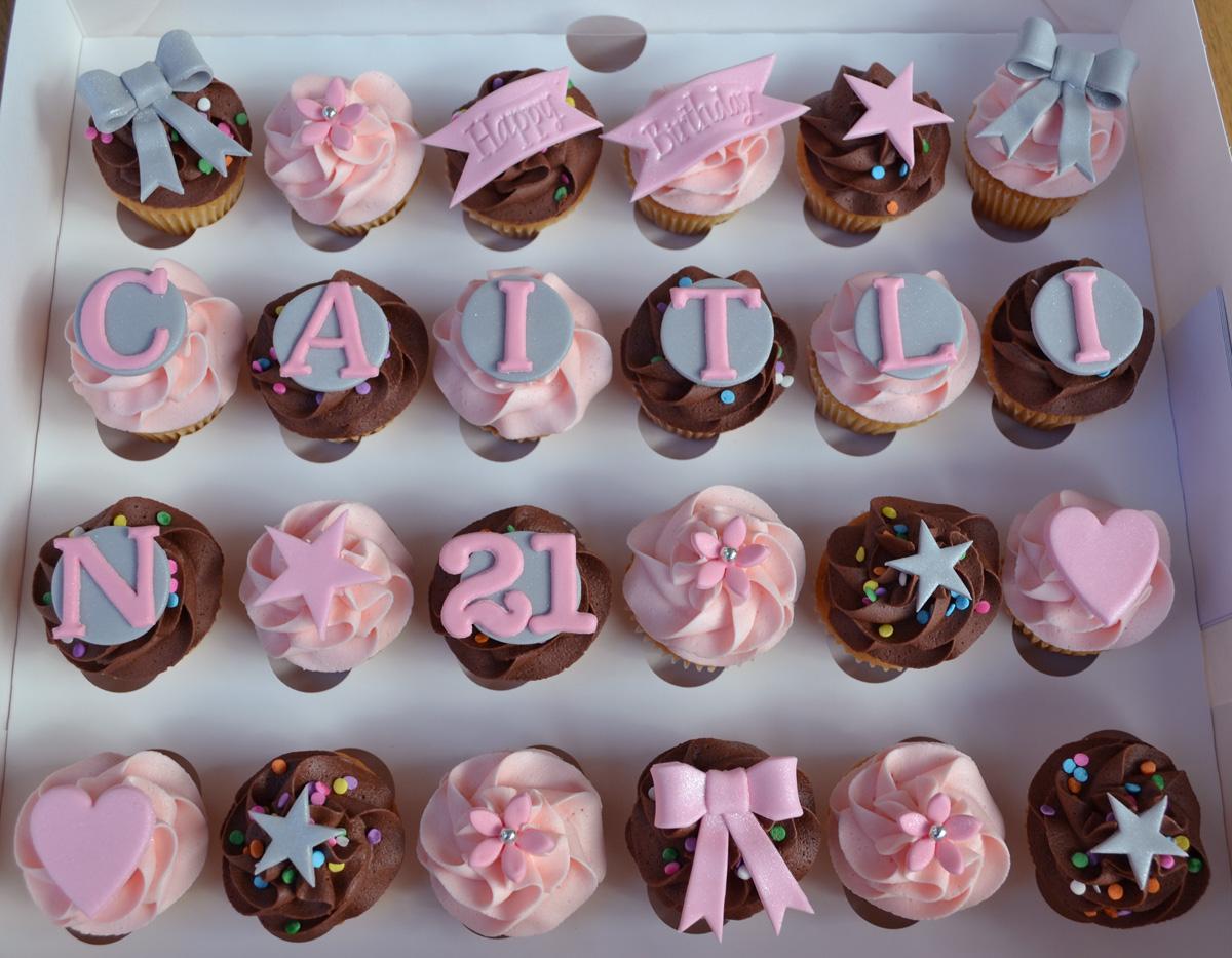 Little Paper Cakes 24 Mini Happy Birthday Caitlin Cupcakes