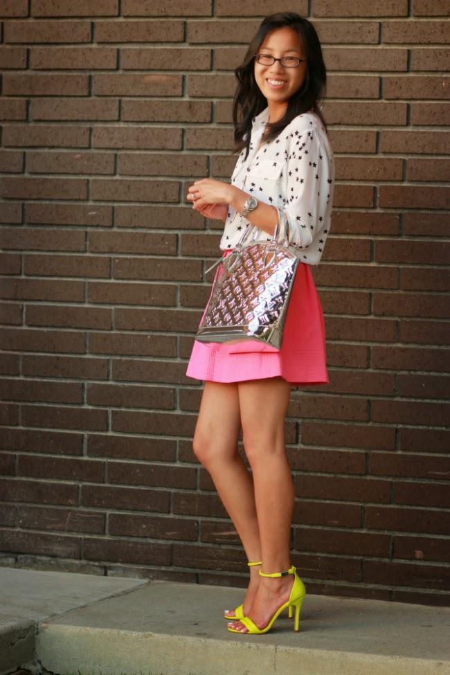 neon heels bright pink skirt