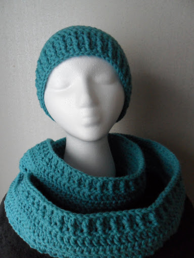 Hand Crocheted Debbie Set in Aqua - Hat Scarf & Wristlets