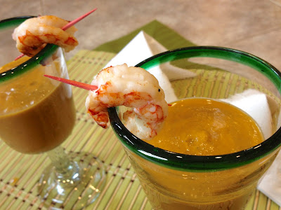 Grilled Yellow Gazpacho & Shrimp