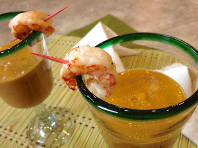 Grilled Yellow Gazpacho & Shrimp