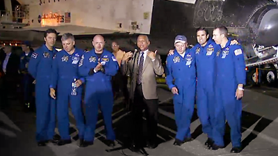 NASA Administrator Charles Bolden welcomes the crew of STS 134. NASA 2011.