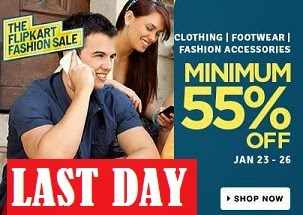 Minimum 55% Off on Clothing | Footwear | Bags Belts & Wallets | Perfumes | Toys & School supplies@ Flipkart (Valid till 26th Jan'15)