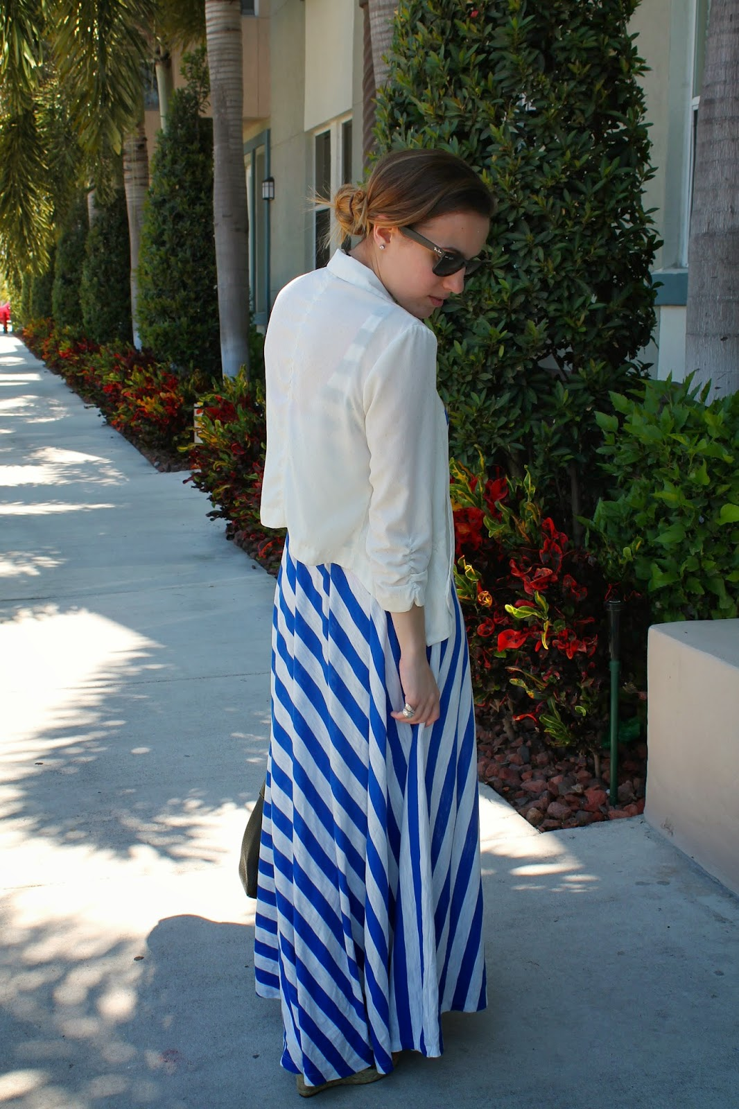 Ann Taylor LOFT, LOFT, Ray-Ban, nautical, prep, studded, horizontal stripes, maxi dress, Kate Spade, feminine, Miami blogger, Miami fashion, Miami