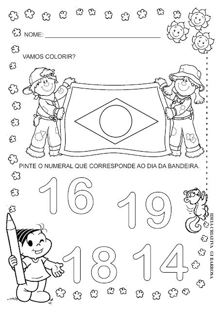 Atividade Numerais Dia da Bandeira Educação Infantil