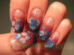 beautiful floral nail art