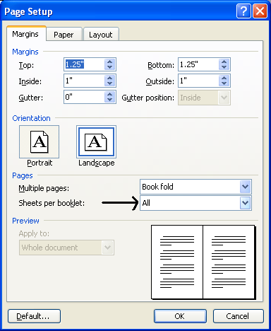 how to make a booklet in word 2010
