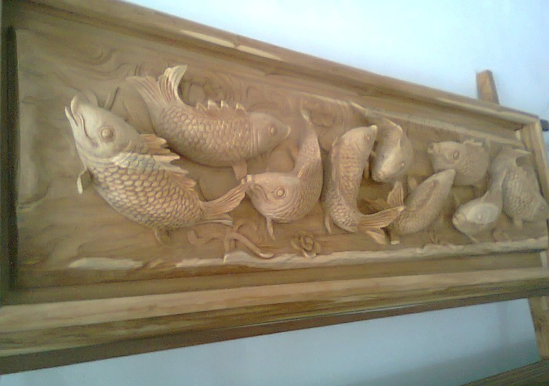 Jimed furniture koi fish 3d carved wall mounted for Koi furniture