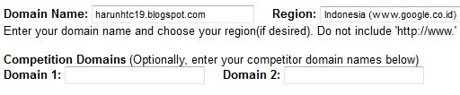 layar input data blog yang ingin diketahui ranking pada SERP Google