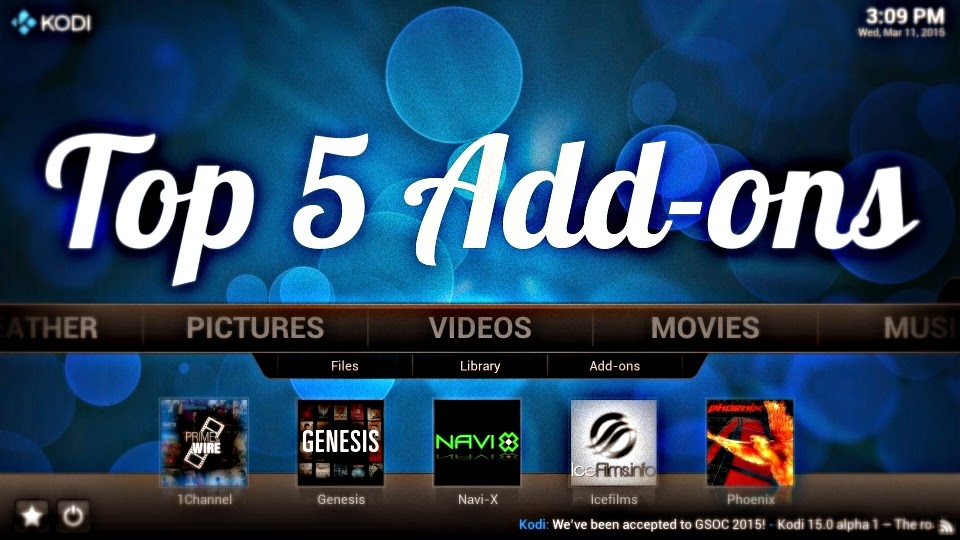 top 5 kodi video add-ons