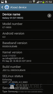 Samsung Galaxy S4 running Android 4.3