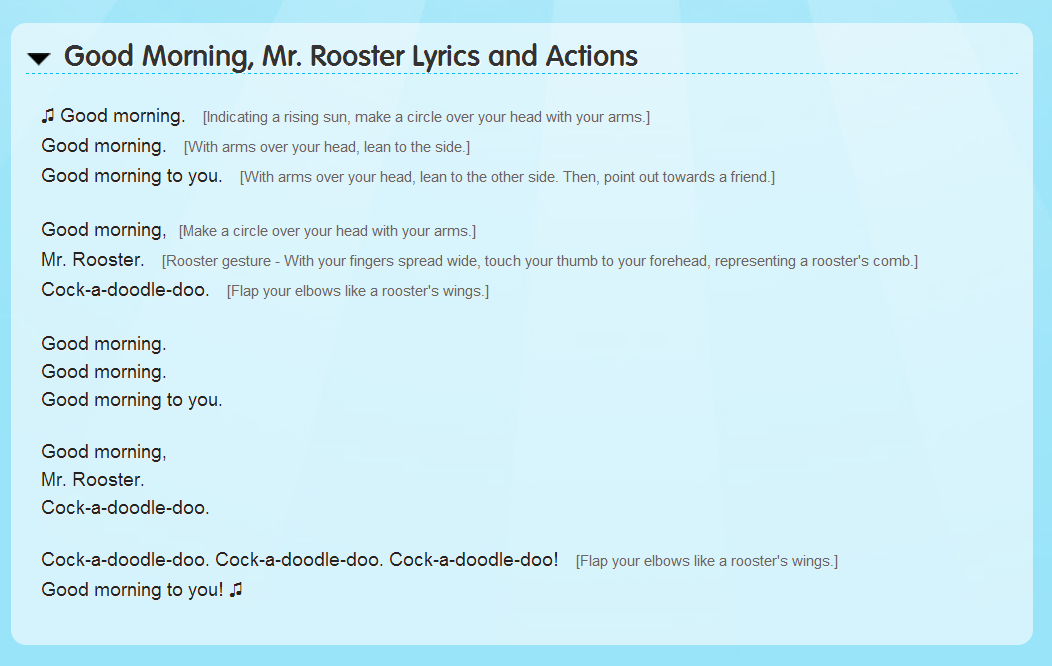 Lyric learning to lean lyrics : Simple Song 3 - Good Morning, Mr. Rooster - English for Kids