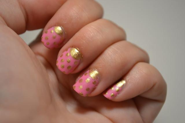 Golden Polkadot Half Moon Nail Art by Elins Nails