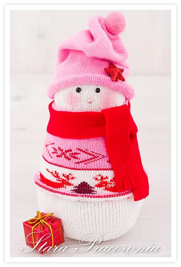 bałanek ze skarpet, bałwanki ze skarpetek, sock snowman