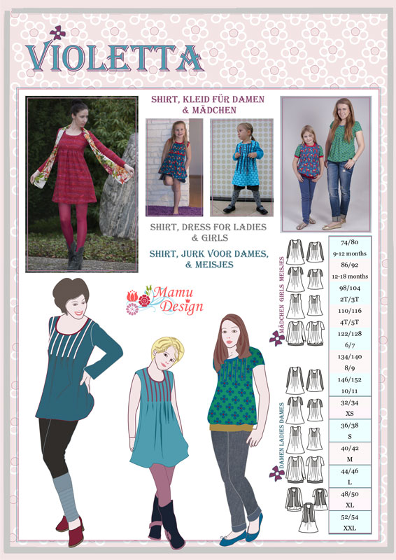 Mamu Design: Schnittmuster VIOLETTA (Shirt, Kleid)