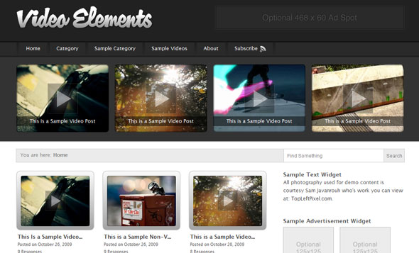 Video Elements Wordpress Theme Free Download by Press75.