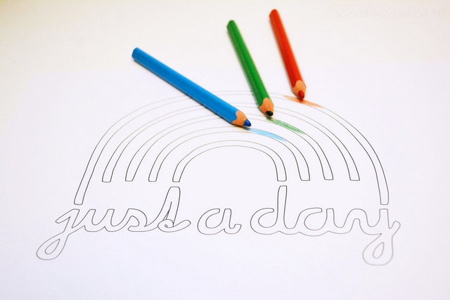 free printable coloring just a rainbow day