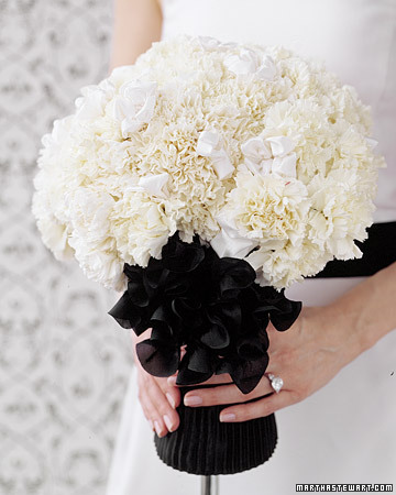bridal black and white white carnations ribbon flowers. Black Bedroom Furniture Sets. Home Design Ideas