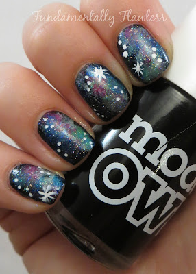 Galaxy nails with Models Own Black Magic
