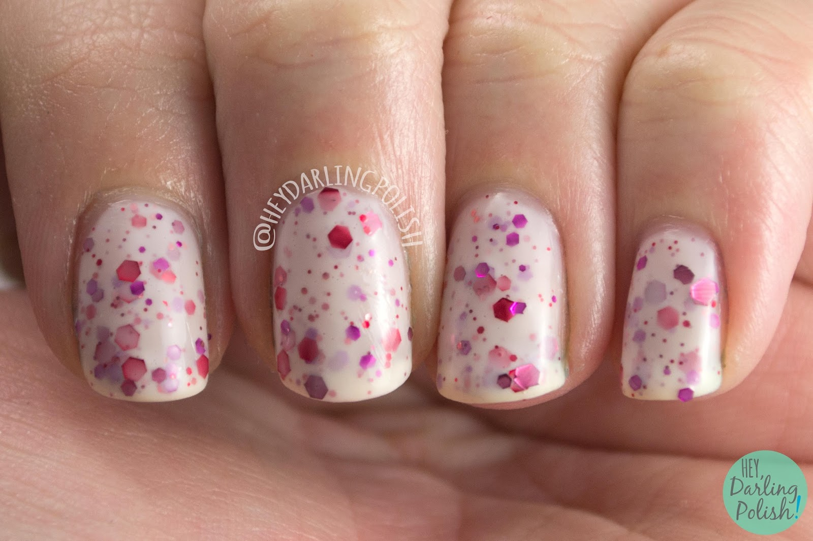 nails, nail polish, kbshimmer, pink, indie polish, falling for hue, glitter crelly,