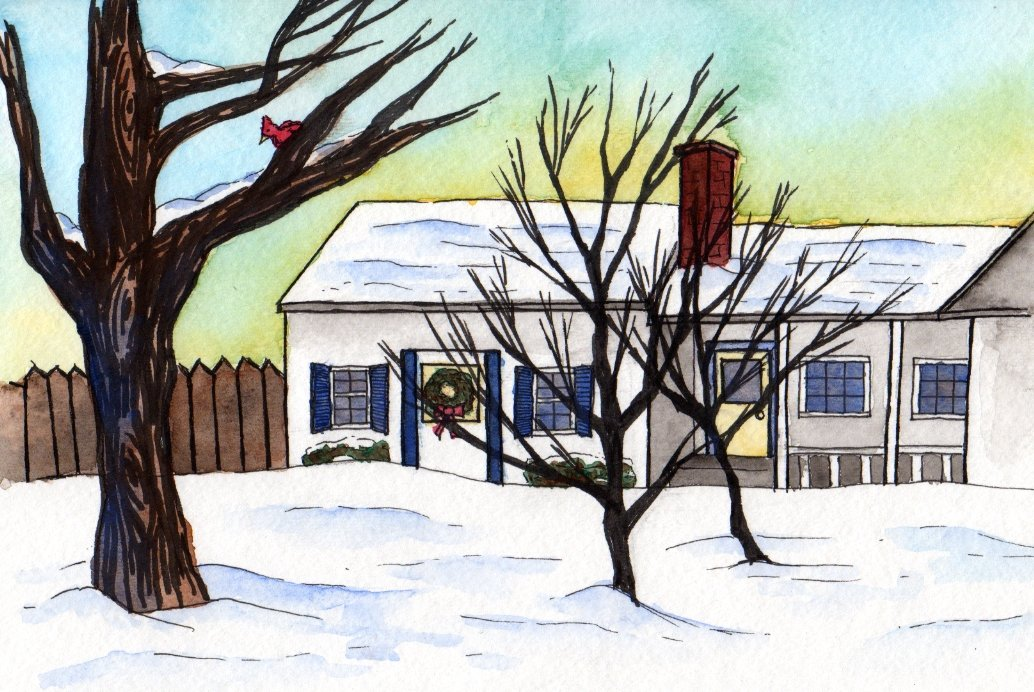our house watercolor