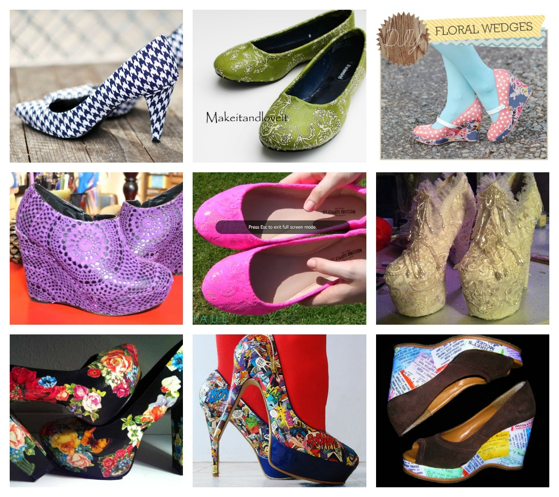 shoe makeovers: covering with fabric, lace, and paper