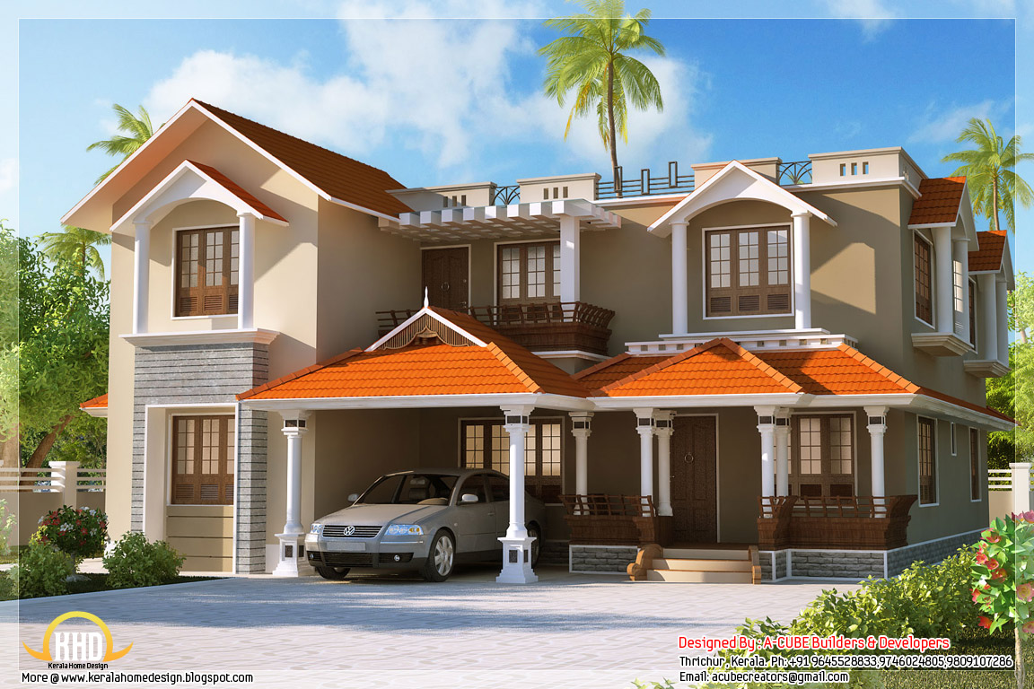 2980 Square Feet, 4 Bedroom Kerala Style Home Elevation 2