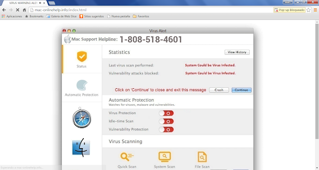 Mac-onlinehelp.info pop-ups (Support Scam)