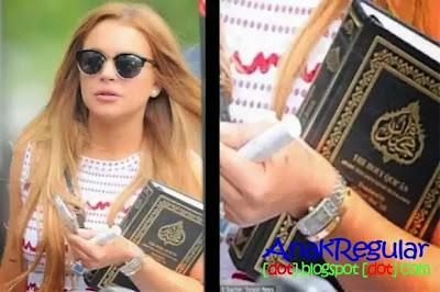 Membawa Al-Quran Lindsay Lohan Mantap Masuk Islam?