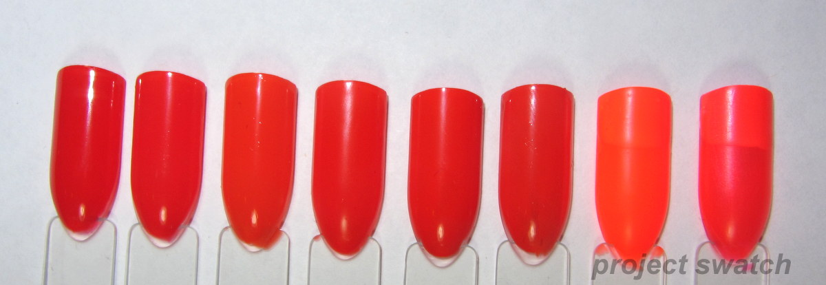 Nail Polish Comparisons & Swatches: Red, Orange, Pink - Project Swatch
