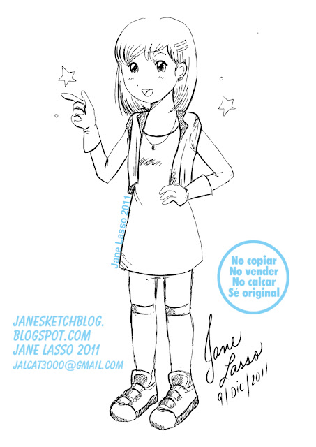 Lineart niña en manga studio 4
