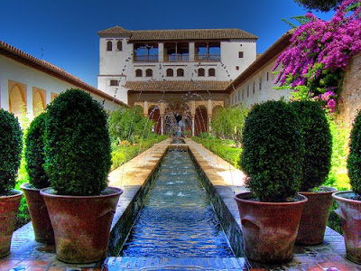 flower garden Generalife in Spain