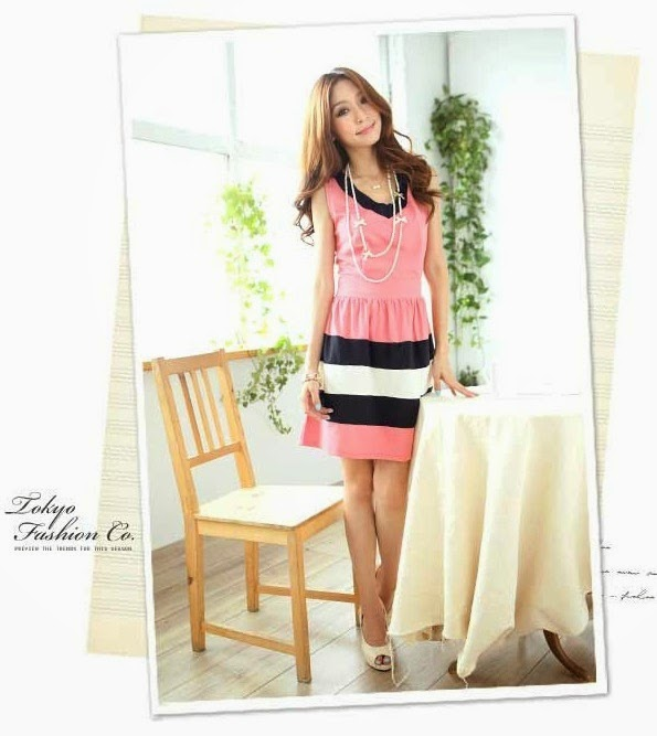 Busana: Dress Pink Strip Putih Hitam