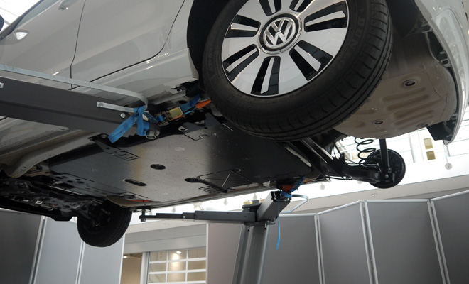Volkswagen e-Up underneath showing battery