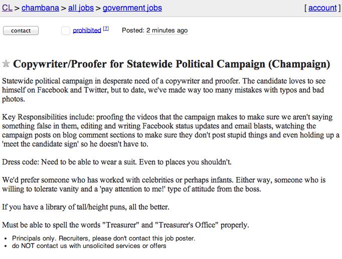 Illinois Truth Team August 2014 – Copywriter Job Description