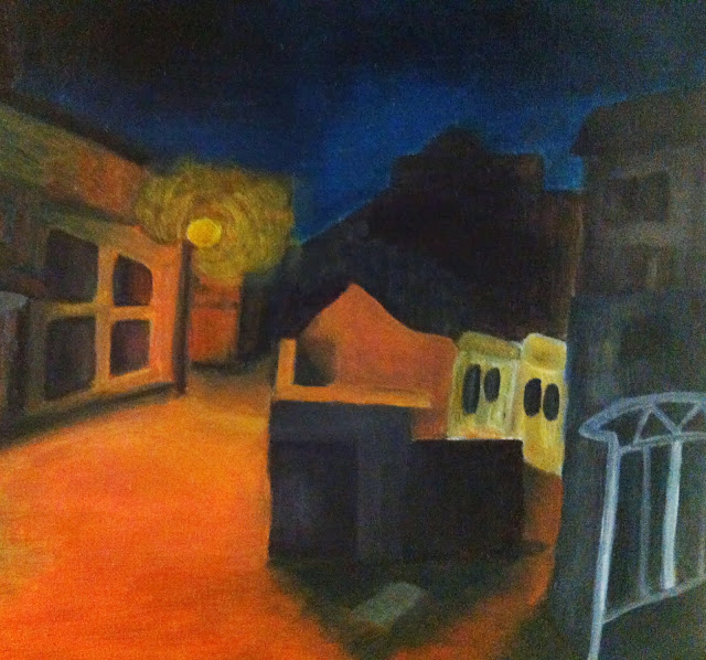 Oil painting street night